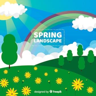 Flat floral spring background