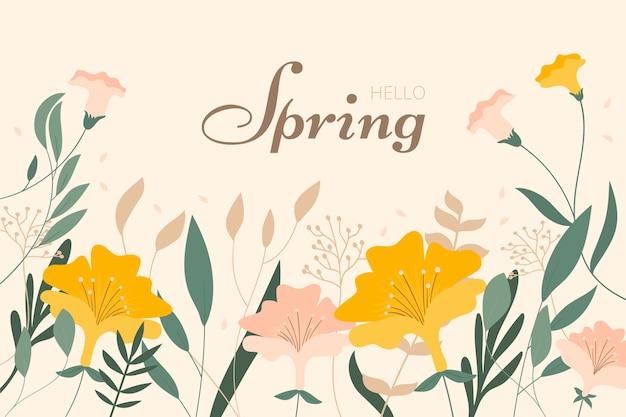 플랫 꽃 봄 배경