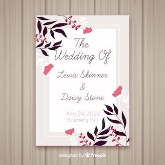 Flat floral wedding card template