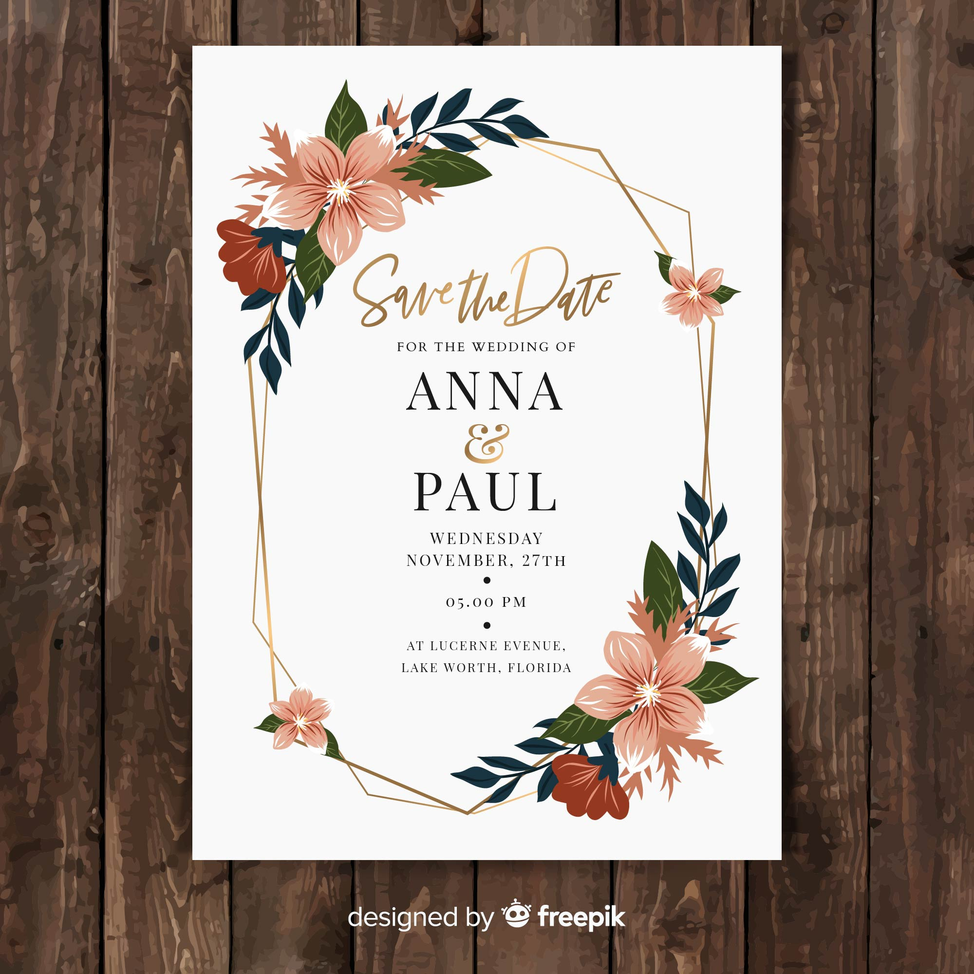Flat floral wedding card template