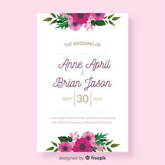 Flat floral wedding invitation template