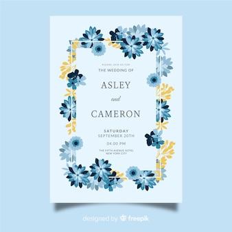 Flat floral wedding invitation