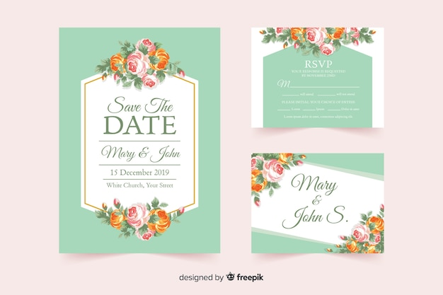 Flat floral wedding stationery template