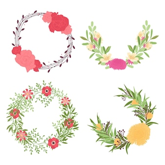 Set di ghirlande floreali piatte