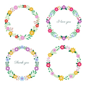Flat floral wreaths collection