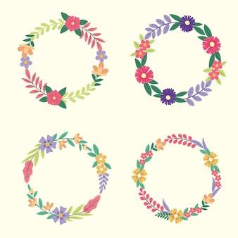 Коллекция плоских цветочных венков Бесплатные векторы