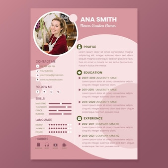 Flat flower garden owner cv template