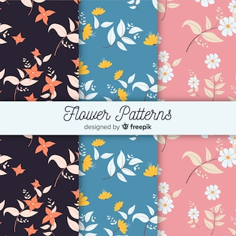 Flat flower and leaves pattern collection