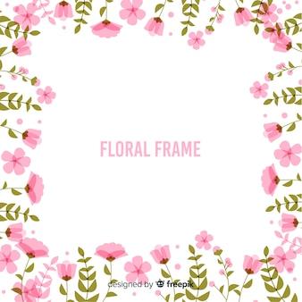 Фон рамки с плоскими цветами