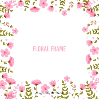 Flat flowers frame background
