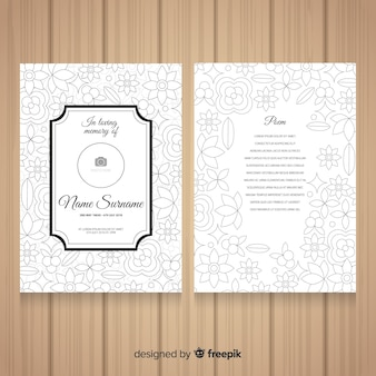 Flat flowers funeral card template