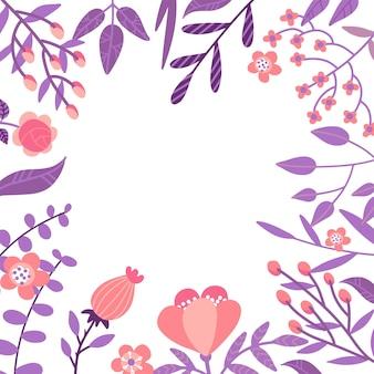 Плоские цветы, листья и ягоды цветная рамка