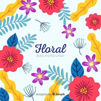 Flat flowers and leaves background