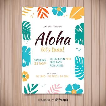 Flat flowers luau poster template