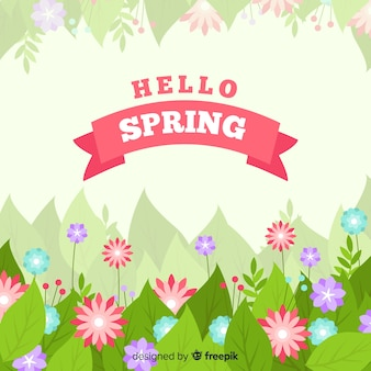 Flat flowers spring background