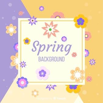 평평한 꽃 봄 배경