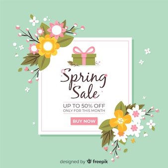 Flat flowers spring sale background
