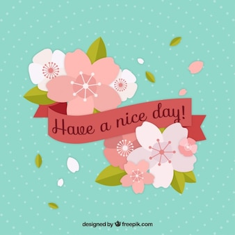 Have a nice day paper art card illustration vector free download flat flowers with have a nice day ribbon m4hsunfo