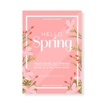 Flat flyer for spring party template