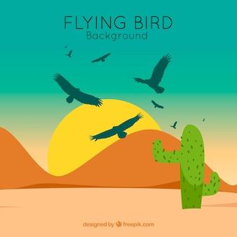 平らな飛行鳥の背景