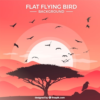 Flat flying bird background Free Vector