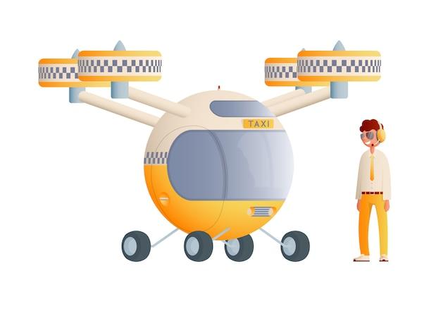 ドライバーとフラット飛行タクシー。