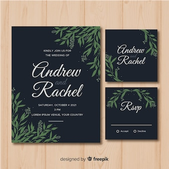 Flat foliage wedding stationery template