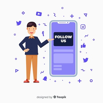 Flat follow us background