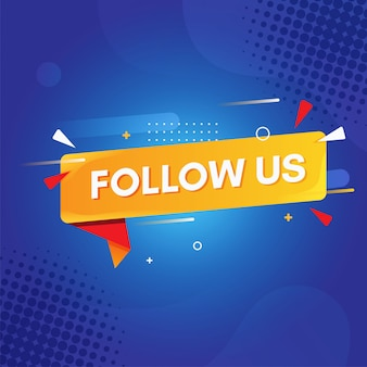 Flat follow us with blue background