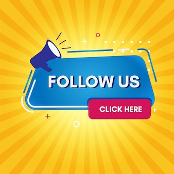 Flat follow us with yellow background
