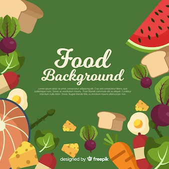 Flat food background template