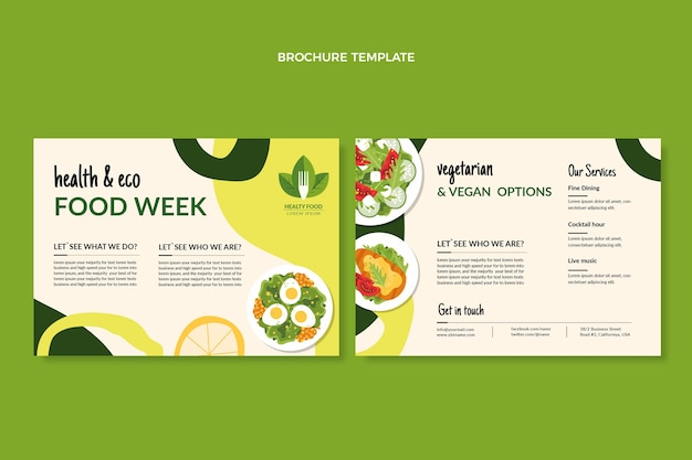 Flat food brochure template