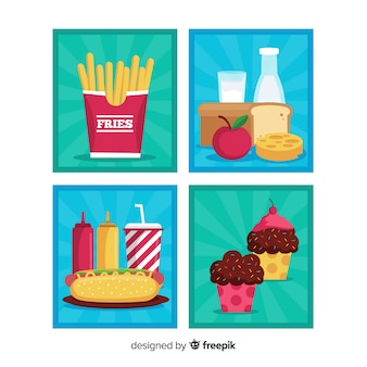 Flat food cards pack