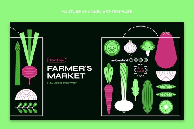 플랫 음식 디자인 템플릿 youtube 채널 아트