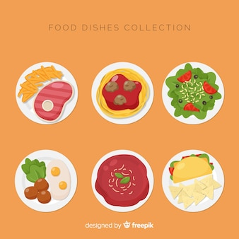 Flat food dish collection
