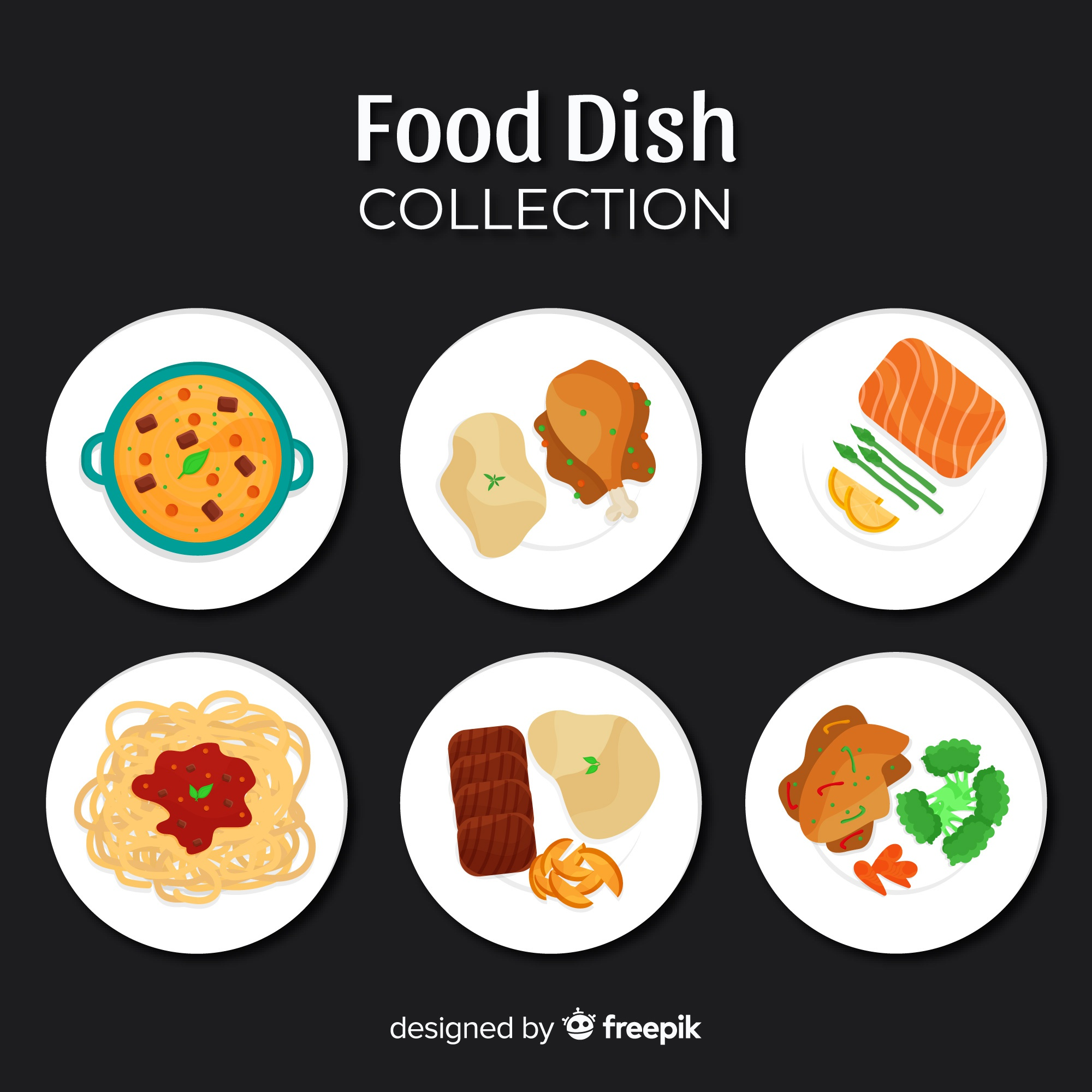 Flat food dishes collection