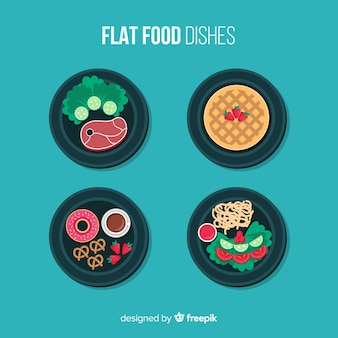 Flat food dishes pack