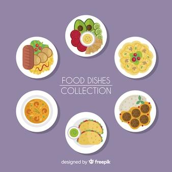 Flat food dishes set