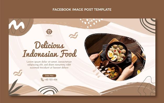 Flat food facebook ad template