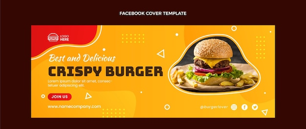 Flat food facebook cover template