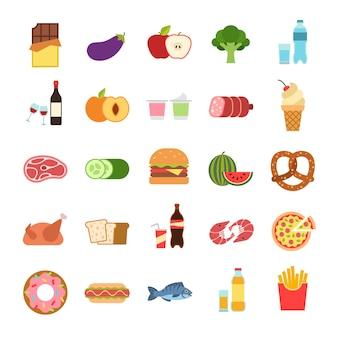 플랫 푸드. 햄버거와 빵, 피자와 과일, 음료. 야채, 알코올 및 고기, 포도 나무 및 물, 해산물, 테이크 아웃, 건강에 해로운 먹는 벡터 만화 격리 된 컬러 아이콘 세트