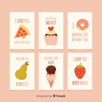 Flat food love cards collection