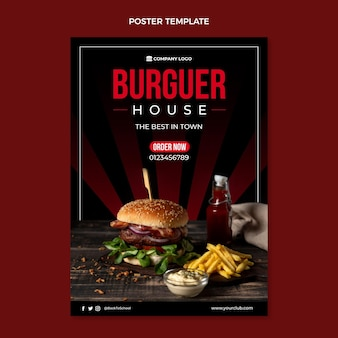 Flat food poster template