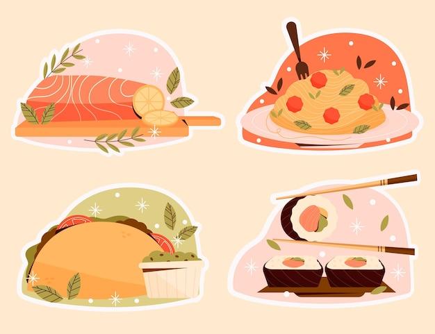 Коллекция плоских пищевых наклеек