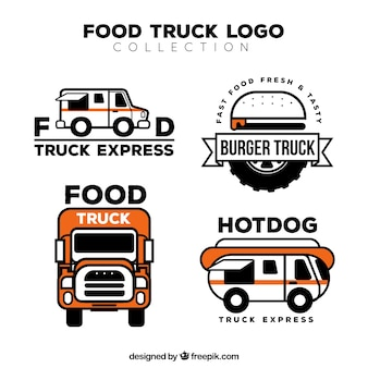 Flat food truck logos with original style