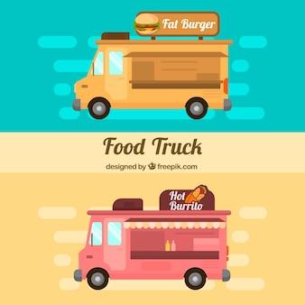 Плоские продовольственные грузовики с гамбургерами и буррито