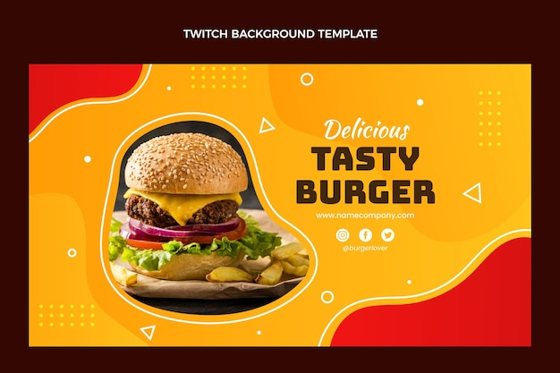 Flat food twitch background