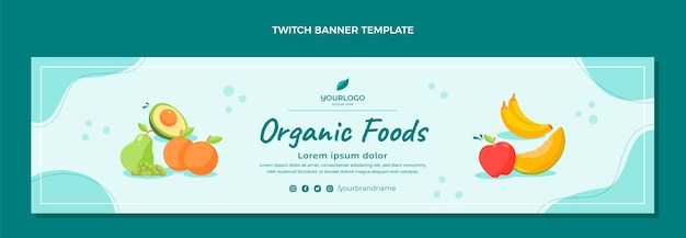 Flat food twitch banner template