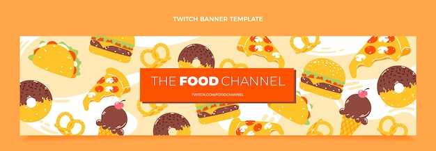 Flat food twitch banner