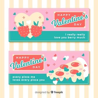 Flat food valentine banner